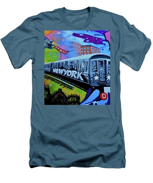 New York Train Men's T-Shirt (Slim Fit) by Joan Reese