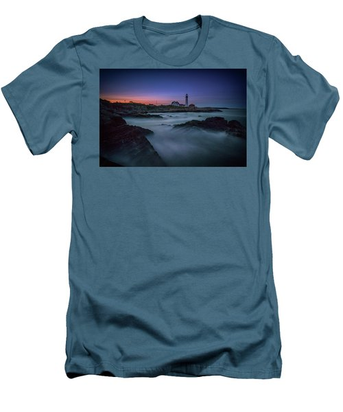Men's T-Shirt (Athletic Fit) featuring the photograph Night Falls On Portland Head by Rick Berk