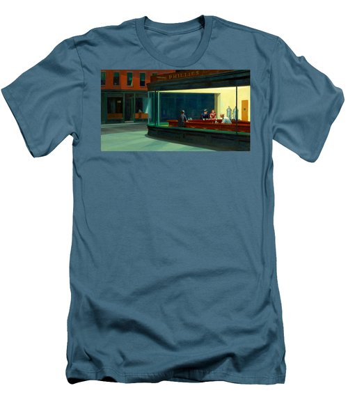 Night Hawks Men's T-Shirt (Slim Fit) by Edward Hopper