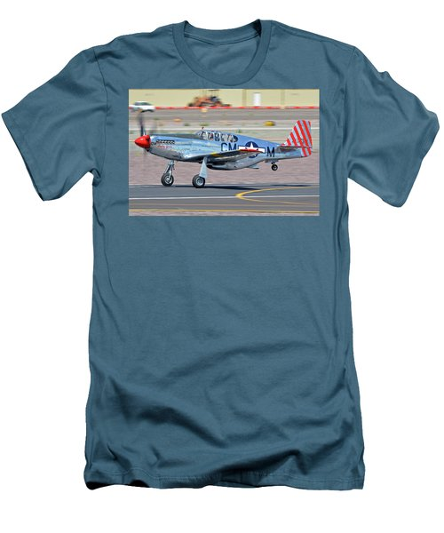 Men's T-Shirt (Slim Fit) featuring the photograph North American Tp-51c-10 Mustang Nl251mx Betty Jane Deer Valley Arizona April 13 2016 by Brian Lockett