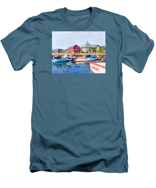 North Shore Art Association At Pirates Lane On Reed's Wharf From Beacon Marine Basin Men's T-Shirt (Slim Fit) by Melissa Abbott