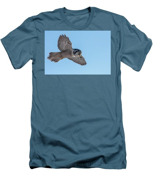 Men's T-Shirt (Slim Fit) featuring the photograph Northern Hawk Owl Hunting by Mircea Costina Photography