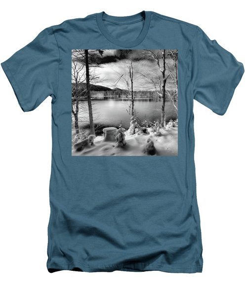 November On West Lake Men's T-Shirt (Slim Fit) by David Patterson
