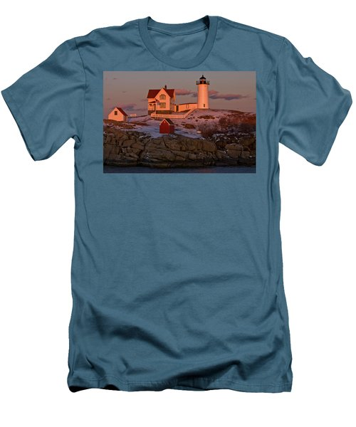 Nubble Light At Sunset Men's T-Shirt (Athletic Fit)