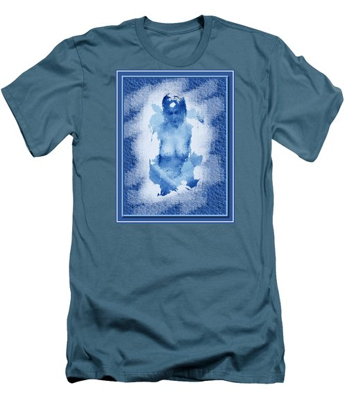Men's T-Shirt (Slim Fit) featuring the painting Nude In Blue by Mario Carini
