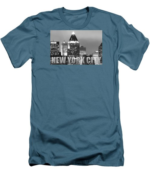Nyc Poster Bw Men's T-Shirt (Athletic Fit)