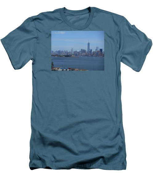 Nyc Skyline Men's T-Shirt (Slim Fit) by Kathleen Peck
