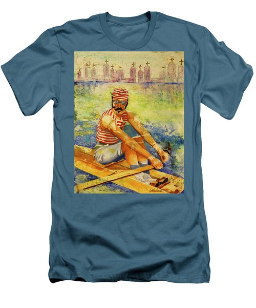 Men's T-Shirt (Slim Fit) featuring the painting Oarsman by Cynthia Powell