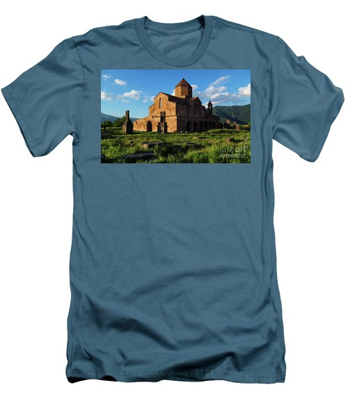 Odzun Church And Puffy Clouds At Evening, Armenia Men's T-Shirt (Slim Fit) by Gurgen Bakhshetsyan