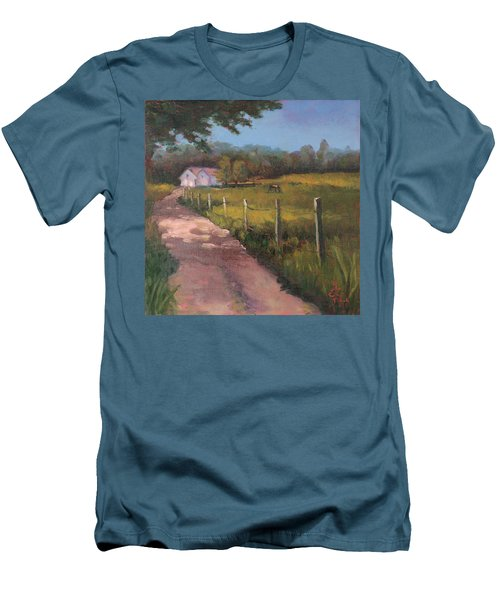 Off The Path In Whiting Bay Men's T-Shirt (Slim Fit) by Trina Teele