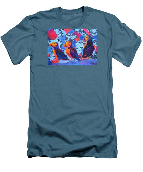 Men's T-Shirt (Slim Fit) featuring the painting Oh Those Puffins by Nancy Jolley