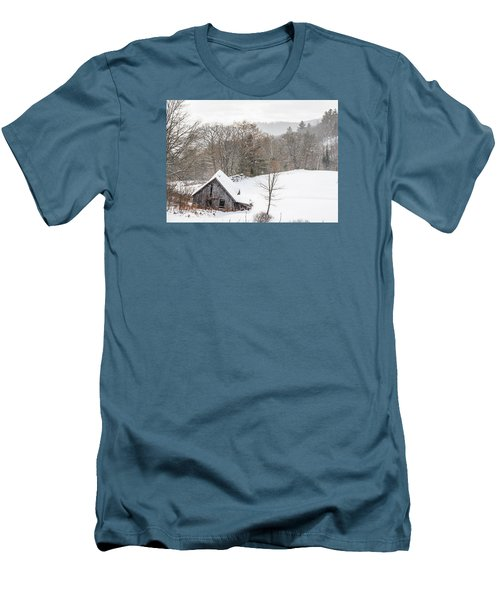 Old Barn On A Winter Day Wide View Men's T-Shirt (Slim Fit) by Tim Kirchoff