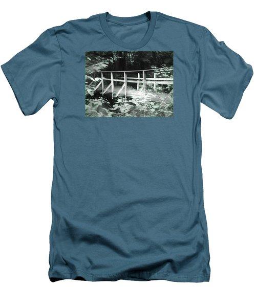 Old Bridge In The Woods Men's T-Shirt (Slim Fit) by Rena Trepanier