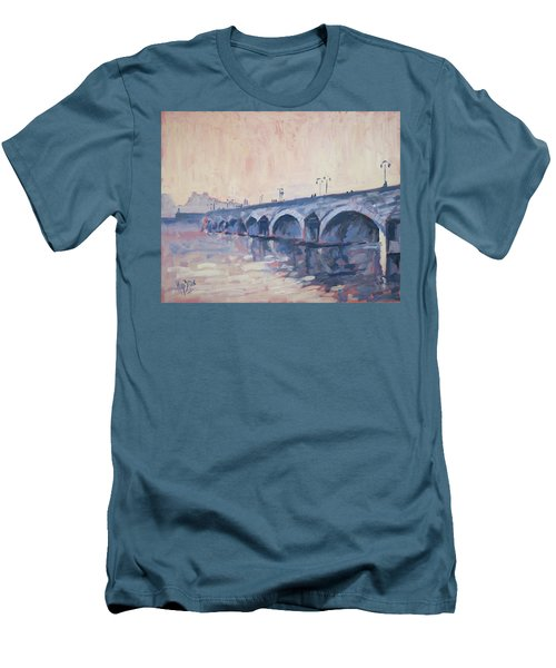 Old Bridge Of Maastricht In Warm Diffuse Autumn Light Men's T-Shirt (Slim Fit) by Nop Briex