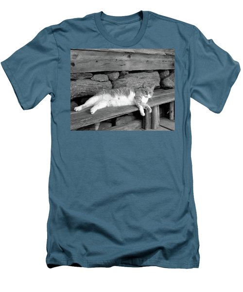 Men's T-Shirt (Slim Fit) featuring the photograph Old Mill Cat by Sandi OReilly