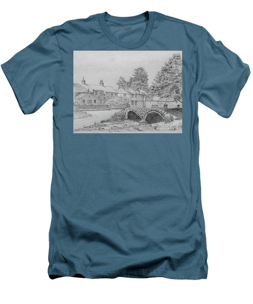 Old Packhorse Bridge Wycoller Men's T-Shirt (Slim Fit) by Anthony Lyon