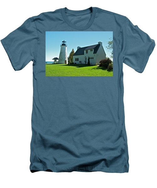 Old Presque Isle Lighthouse_9480 Men's T-Shirt (Slim Fit) by Michael Peychich