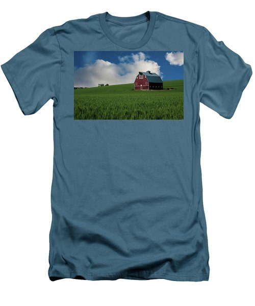 Old Red Barn In The Palouse Men's T-Shirt (Slim Fit) by James Hammond