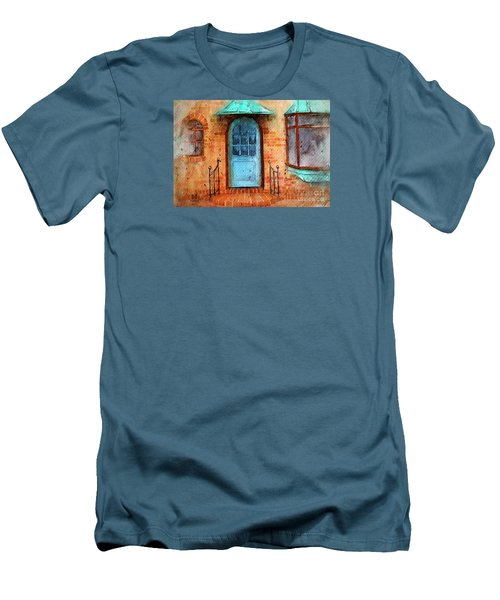 Old Service Station With Blue Door Men's T-Shirt (Athletic Fit)