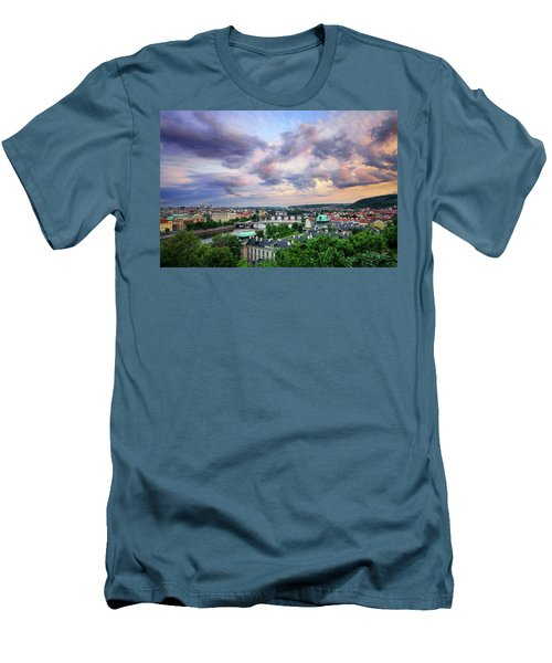 Old Town And Charles Bridge, Prague, Czech Republic Men's T-Shirt (Athletic Fit)