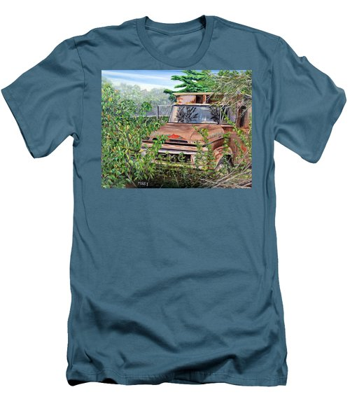 Men's T-Shirt (Slim Fit) featuring the painting Old Truck Rusting by Marilyn  McNish