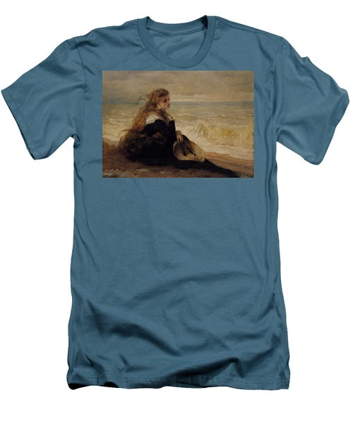 On The Seashore Men's T-Shirt (Slim Fit) by George Elgar Hicks