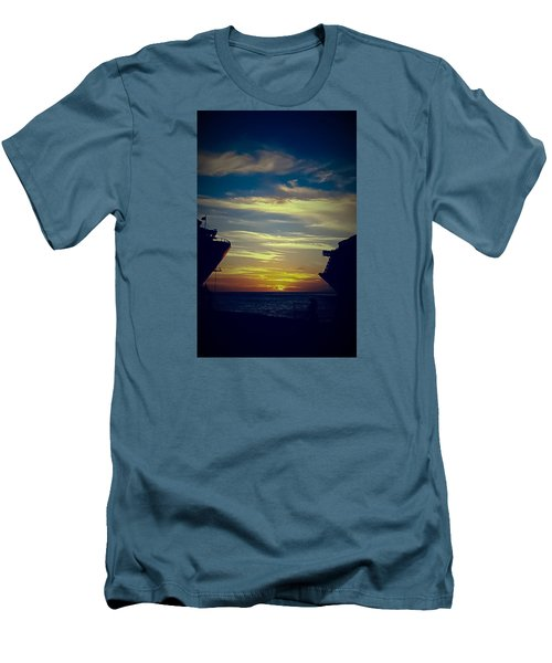 Men's T-Shirt (Slim Fit) featuring the photograph One Last Glimpse by DigiArt Diaries by Vicky B Fuller