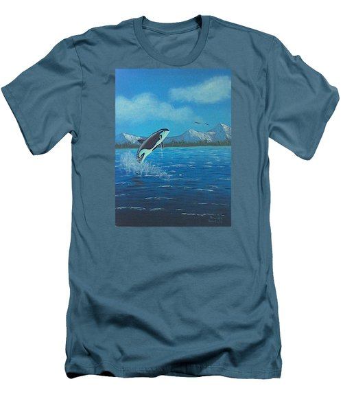 Orca Men's T-Shirt (Slim Fit) by Brenda Bonfield