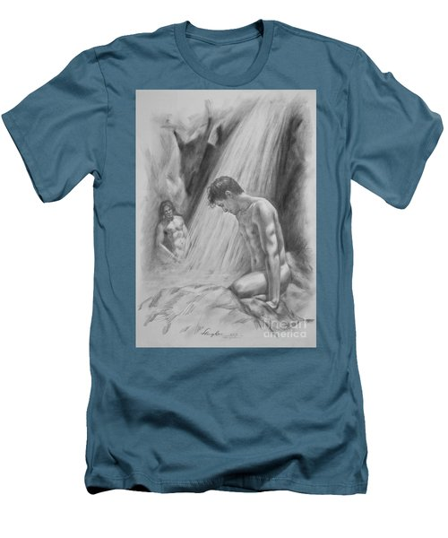 Original Charcoal Drawing Art Male Nude By Twaterfall On Paper #16-3-11-16 Men's T-Shirt (Slim Fit) by Hongtao Huang