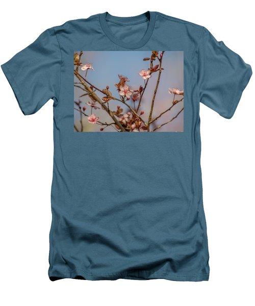 Purple Leaf Sandcherry Blossoms Men's T-Shirt (Athletic Fit)