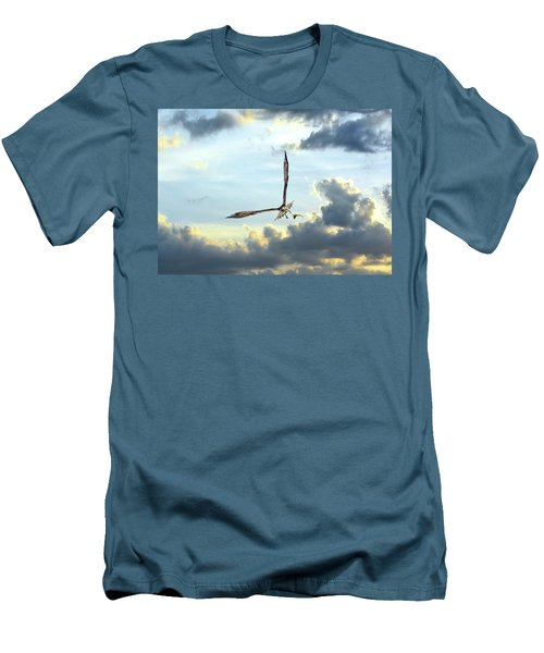 Osprey Flying In Clouds At Sunset With Fish In Talons Men's T-Shirt (Athletic Fit)