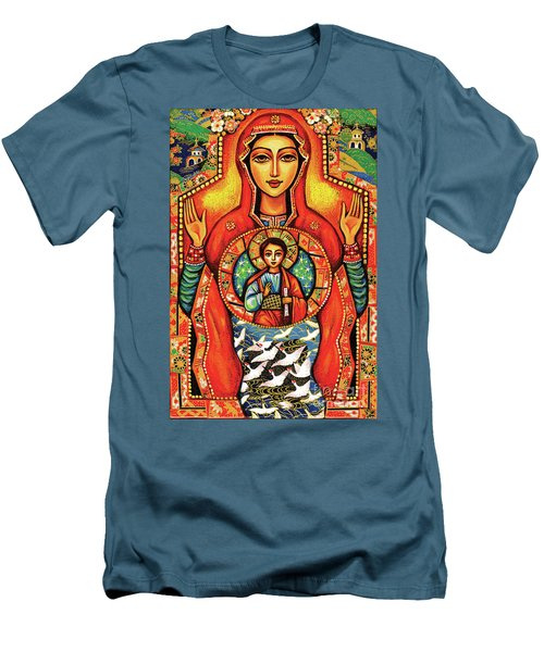 Men's T-Shirt (Slim Fit) featuring the painting Our Lady Of The Sign by Eva Campbell