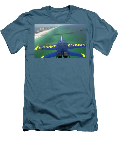 Over Pensacola Beach Men's T-Shirt (Slim Fit) by Specialist 3rd Class Andrew Johnson
