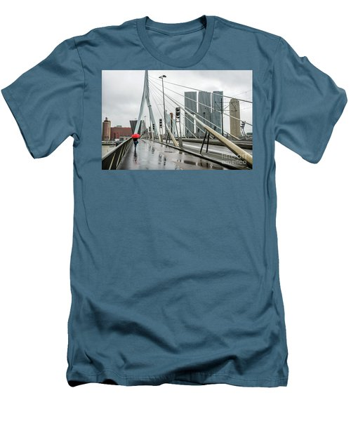 Men's T-Shirt (Slim Fit) featuring the photograph Over The Erasmus Bridge In Rotterdam With Red Umbrella by RicardMN Photography