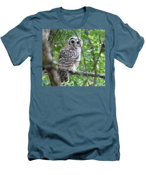 Men's T-Shirt (Slim Fit) featuring the photograph Owl On A Limb by Donald C Morgan