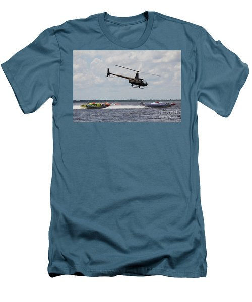 Men's T-Shirt (Slim Fit) featuring the photograph P1 Powerboats by David Grant