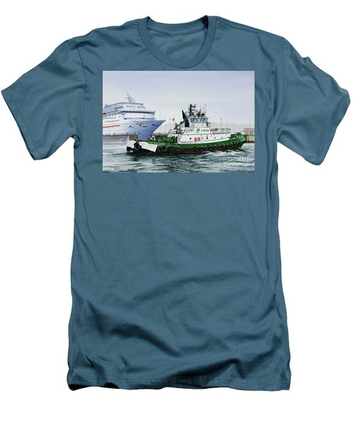 Men's T-Shirt (Slim Fit) featuring the painting Pacific Escort Cruise Ship Assist by James Williamson