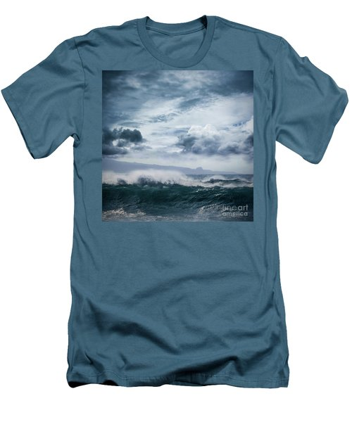 Men's T-Shirt (Slim Fit) featuring the photograph He Inoa Wehi No Hookipa  Pacific Ocean Stormy Sea by Sharon Mau