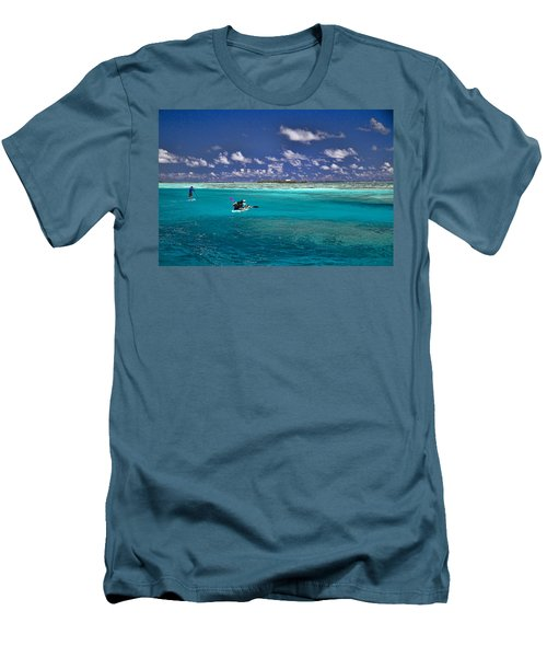 Paddling In Moorea Men's T-Shirt (Slim Fit) by David Smith
