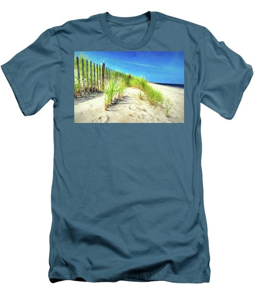 Men's T-Shirt (Athletic Fit) featuring the photograph Painterly  Waterfront Dune Grass by Gary Slawsky