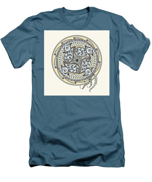 Men's T-Shirt (Slim Fit) featuring the drawing Paisley Balance Mandala by Deborah Smith