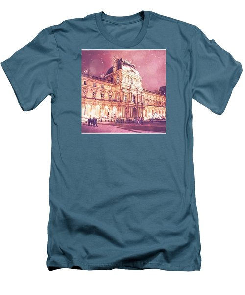 Palais Du Louvre En Rose Men's T-Shirt (Slim Fit)