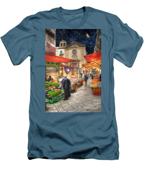 Palermo Market Place Men's T-Shirt (Slim Fit) by Juli Scalzi