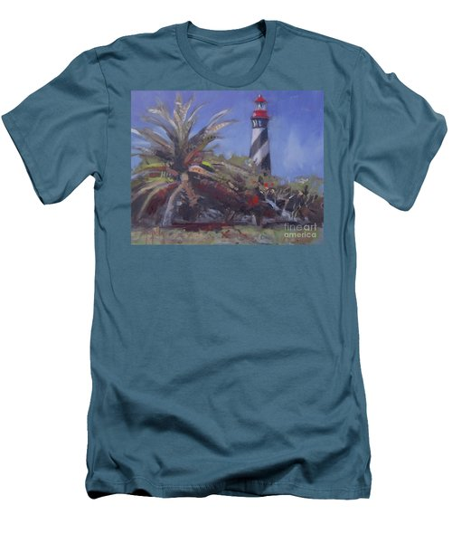 Palm By The Lighthouse Men's T-Shirt (Slim Fit) by Mary Hubley