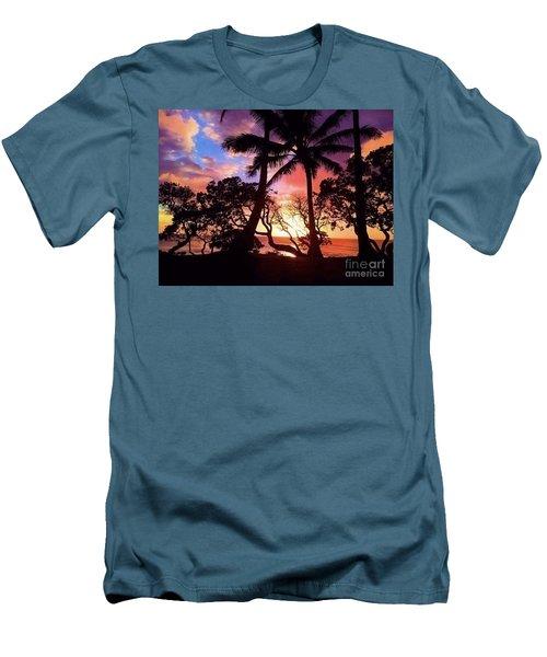 Palm Tree Silhouette Men's T-Shirt (Slim Fit) by Kristine Merc