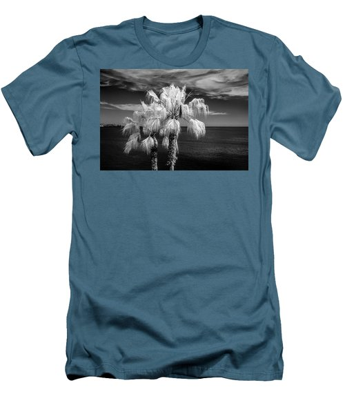 Men's T-Shirt (Slim Fit) featuring the photograph Palm Trees At Laguna Beach In Infrared Black And White by Randall Nyhof