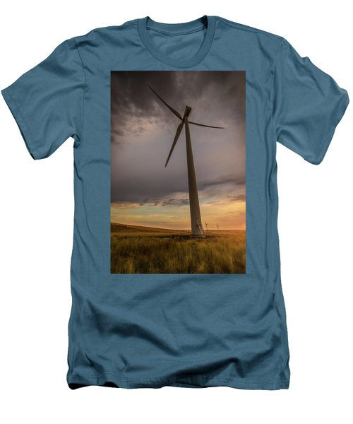 Men's T-Shirt (Slim Fit) featuring the photograph Palouse Windmill At Sunrise by Chris McKenna