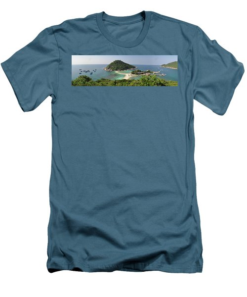 panorama Koh Nang Yuan Men's T-Shirt (Slim Fit) by Sushko