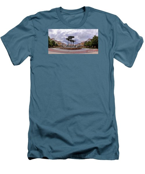 Panorama Of Texas Christian University Campus Commons And Frog Fountain - Fort Worth Texas Men's T-Shirt (Athletic Fit)