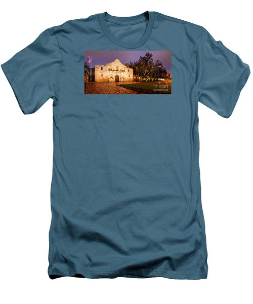 Panorama Of The Alamo In San Antonio At Dawn - San Antonio Texas Men's T-Shirt (Athletic Fit)